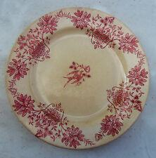 Antique French Cream, Red PLATE Sce Marly E.C Samaritaine Terre de Fer Porcelain