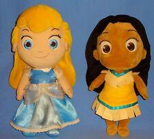 """Disney Store Plush Pocahontas & Cinderella Toddler-Baby Princess dolls 12"""" LOT-2"""