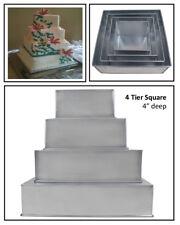 "4 TIER HEAVY DUTY SQUARE CHRISTMAS CAKE TINS 6"" 8"" 10"" 12""  (4"" Deep)"