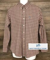 Southern Tide Men's Brown Pink Plaid Long Sleeve Button Down Casual Shirt M