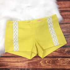 """Lilly Pulitzer WMNS Sz 00 Yellow Braided Embroidery Textured 3"""" Liza Mini Shorts"""