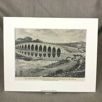 1890 Antique Print Beijing China Summer Palace Seventeen Arch Bridge Landscape