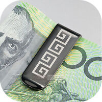 Solid stainless steel money clip black high Polished Greece pattern Sydney stock