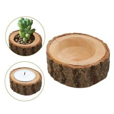 1pc Mini Candle Stand Set Creative Wooden Bark Candlestick Indoor Flower Pot...