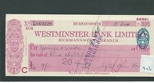 wbc. - CHEQUE - CH923 - USED -1937/38 - WESTMINSTER BANK, RICKMANSWORTH