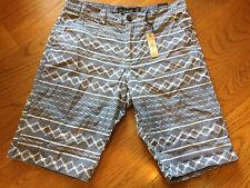 RIVER ISLAND Mens Shorts, Slate Blue Ikat zig zag Patterned Size 34, NWT
