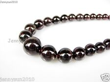 AAA Natural Garnet Gemstone 4~12mm Graduated Round Beads Necklace 17'' Inches