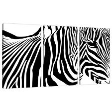 Set of 3 Black White Pictures Canvas Wall Art UK Abstract Zebra 3022