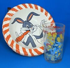 Classic Bugs Bunny - 1965 Paper Dessert Bowls & 1974 Drinking Glass - Lot of 9