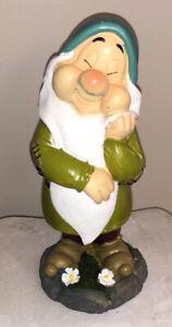 "Disney Snow White Dwarf SLEEPY Garden Figurine Statue 8"" New"