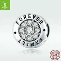 Fine 925 Sterling Silver Charm Bead Forever Family with CZ For Bracelet Jewelry