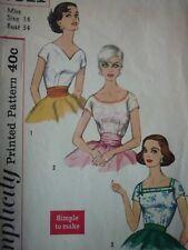 VINTAGE 1950'S SIMPLICITY BLOUSES SEWING DRESSMAKING PATTERN