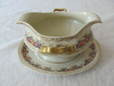 Rosenthal Vienna Ivory - Flowers Gold- Gravy Boat with Attached Underplate