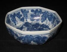Asian Grape, Vines, Leaves, Blue & White Octagon Bowl, 5""