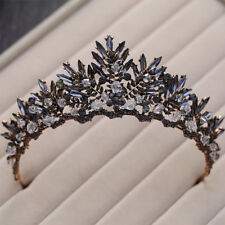 ANTIQUE COPPER CROWN/TIARA WITH BLACK & GREY CRYSTALS & BEADS, BRIDAL OR RACING