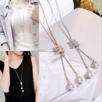 Vintage Women Rhinestone Tassel Pendant Long Chain Sweater Necklace Jewelry Gift