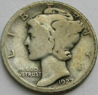 1927 S Mercury Dime circulated 90% Silver  Good to Average circulated