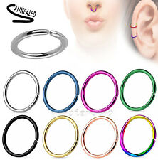 2pcs. Surgical Steel Seamless Hoop Nose Ring Earring Cartilage Labret Septum