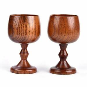 2pc Mini Natural Wooden Goblet Mug Beer Coffee Tea Drinking Cup Chalice Cup Gift