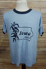 Vintage 1980's Tri-Blend Rayon Ringer T-Shirt Vacation Tourist Kalona Iowa M/L