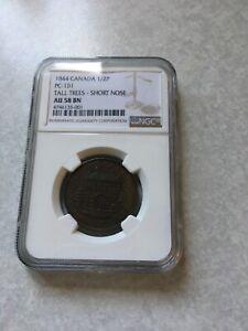 1844 Canada 1/2 Penny Ngc Au58 BN PC-1B1