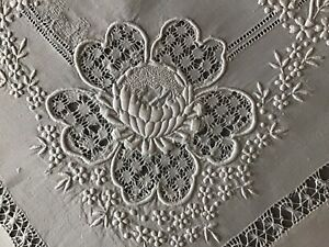 ANTIQUE IRISH LINEN HAND EMBROIDERED TABLECLOTH~WHITEWORK/DRAWN THREAD~SUNFLOWER