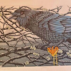 hand colored  art print  bird Yvonne Davis 1/350 finders keepers 9530