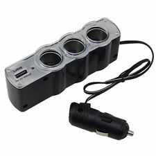 Triple Socket Car Van Cigarette Cigar Lighter Adapter Power Plug USB Port 3 in 1