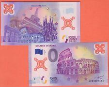 BILLET SOUVENIR 0 EURO POLYMERE COLISEE DE ROME  ITALIE  FRANCE TIRAGE 2017 EX