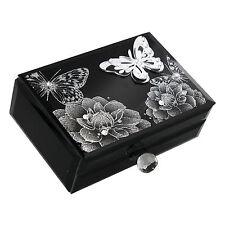 HESTIA Black & Silver Glass Flowers & Butterfly Trinket Jewelley Jewel  Box