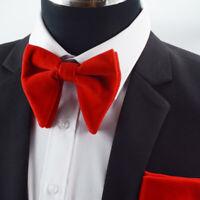 Men Bow Tie Sets Velvet Bowtie Hankerchief Cufflinks 3PCS Set Groom Party Wear