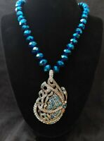 """Heidi Daus """"Jeweled Wings"""" Beaded Crystal Drop Butterfly Necklace"""