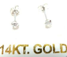 14kt WHITE GOLD 3MM Cubic Zirconia Earrings Men, Baby & Nose too! Free Shipping!