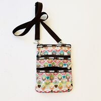 LESPORTSAC Classic Kylie Crossbody Bag Purse Brown Pink Hearts Pockets