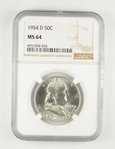 MS64 1954-D Franklin Half Dollar - Graded NGC *215
