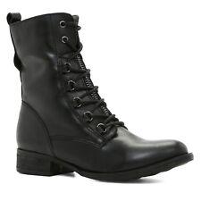 "ALDO Keira UK 8.5 EU 42.5 Black Leather Zip Up Biker Style 7"" New Ankle Boots"