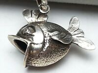 Vintage Silber Anhänger Fisch 835 punziert & 835 Silberkette 60er Jahre / A 189