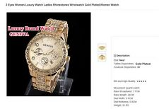 BIJOUX : B302 MONTRE FEMME - 3 Eyes Luxury Watch Ladies Gold Plated Women Watch