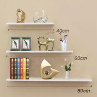 Large Set of 3 Floating Wall Shelves Storage Display Shelf White NEW UK