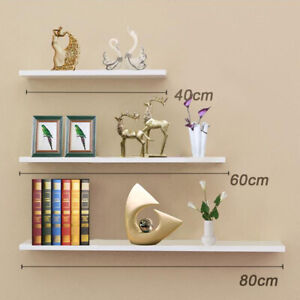 Large Set of 3 Floating Wall Shelves Storage Display Shelf White NEW UK