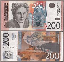 BANCONOTA SERBIA 200 Dinara 2013 Fior di Stampa Unc Uncirculated Banknotes