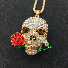 Gold Plated Rhinestone Rose Flower Skull Head Pendant Necklace Sweater Chain
