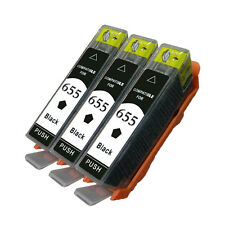 3pk Black Ink Cartridge For HP 655 HP655 Deskjet 3525 4615 4625 5525 6520 6525