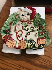 Fitz and Floyd Kitty Kringle Christmas Plate Original Box Packaging Canape Dish