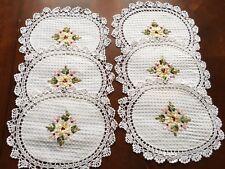 """6 pieces  10"""" x 14""""  OVAL Crochet Lace Doily COLOR WHITE  100 % COTTON"""