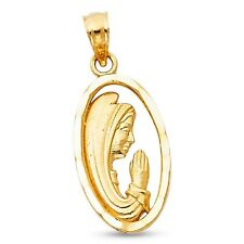 Oval Virgin Mary Praying Pendant Solid 14k Yellow Gold Guadalupe Charm Religious