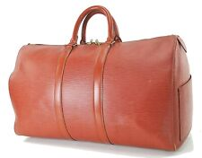 Authentic LOUIS VUITTON Keepall 45 Brown Epi Leather Duffel Bag #27345A