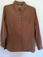 Chico Designs Womens 0/4  Brown Long Sleeve Button Up Soft Casual Blouse
