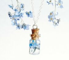 Tiny kawaii bottle necklace with real dry flower Forget me not blue Flower charm