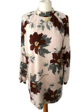 M&S Collection Light Pink Size 16 Floral Lightweight Jumper Dress Fine Knit